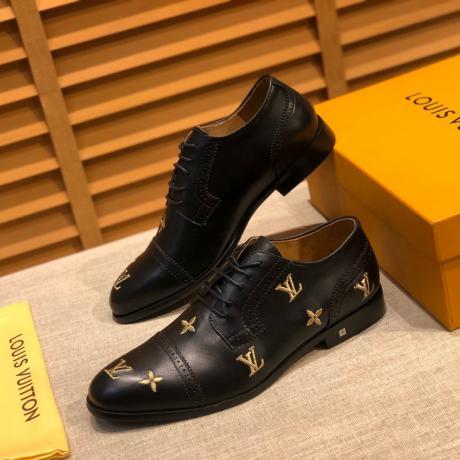 ルイヴィトン LOUIS VUITTON  4色革靴ビジネスシューズ紳士ロングノーズ通勤 牛革レプリカ販売